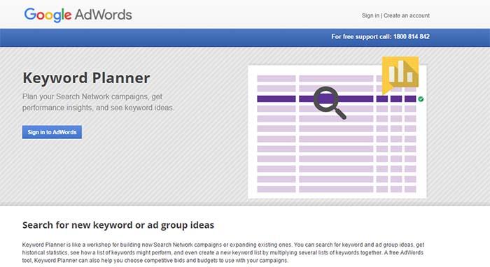 otimizar visitas site Google Keyword Planner